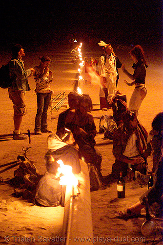 crude awakening - burning man 2007, burning man, fire, night, sculptures