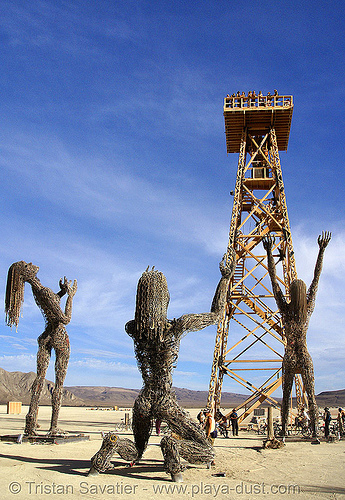 crude awakening - burning man 2007, art installation, burning man, oil derrick, sculptures, wood tower