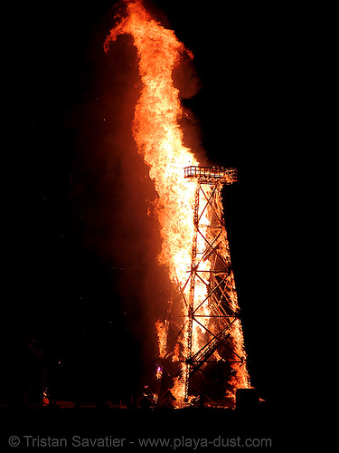 crude awakening - burning man 2007, burning man, fire, night, oil derrick, sculpture, wood tower