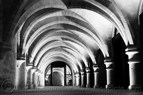 crypt - collège des bernardins - gothic architecture - stone vaults - monastery (paris), architecture, cellar, cistercian, collège des bernardins, crypt, gothic, medieval, monastery, paris, stone vaults
