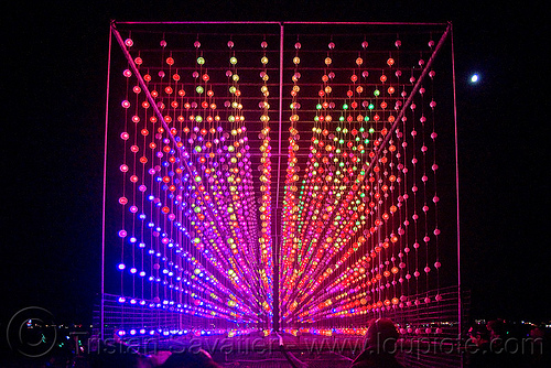 cubatron L5 by mark lotter - burning man 2009, burning man, cubatron l5, cube, glowing, led lights, long exposure, mark lotter, night, ping pong balls
