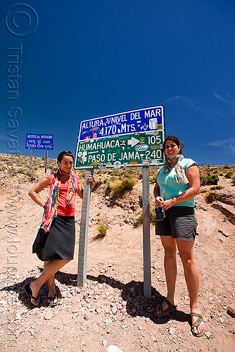 cuesta de lipán - mountain pass on the way to salinas grandes (argentina), blue sky, camille, charlotte, cuesta de lipán, noroeste argentino, people, quebrada de humahuaca, road signs, traffic sign, women