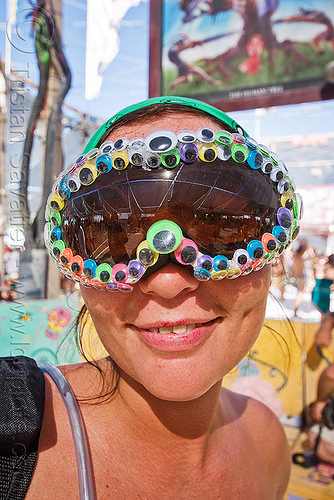 customized goggles, center camp, customized, goggles, plastic eyes, woman
