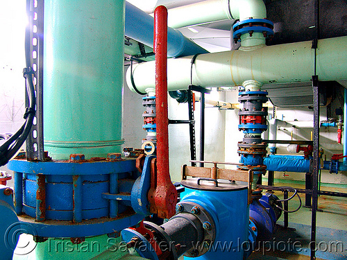 cut-off valve - water treatment plant, cut-off valve, factory, pipes, trespassing, water purification plant, water treatment plant