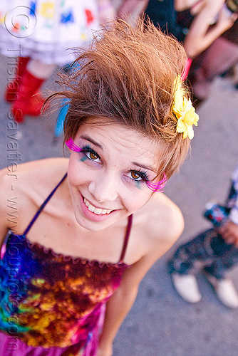 cute girl, ayla, burning man decompression, eyelashes extensions, woman