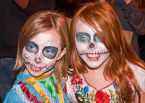 cute little girls with sugar skull makeup - redhead, children, colorful, day of the dead, dia de los muertos, face painting, facepaint, halloween, kids, little girl, night, redhead, sugar skull makeup