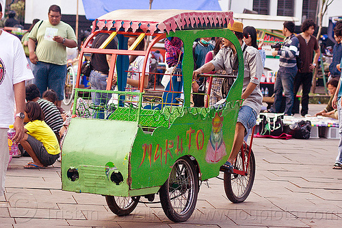 cycle-powered amusement ride for small kids, bicycle, bike, eid, eid ul-fitr, fatahillah square, jakarta, java, people, taman fatahillah