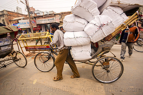 cycle rickshaw carrying large sacks (india), bags, big, cargo, carrying, cycle rickshaw, freight, large, man, pushing, sacks, street, varanasi