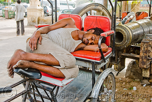 cycle rickshaw driver sleeping near gun - jaipur (india), cycle rickshaw, man, street, tricycle, wallah