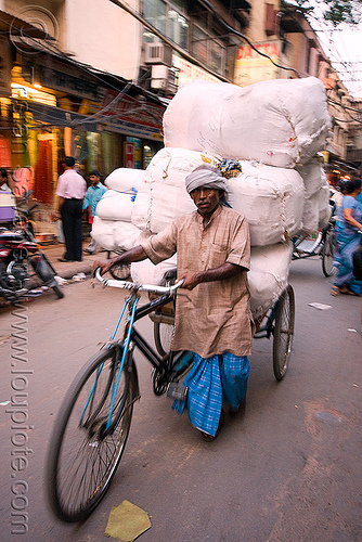cycle rickshaw with heavy load of freight - delhi (india), bearer, cycle rickshaw, delhi, freight, heavy, load, man, moving, porter, street, tricycle, wallah