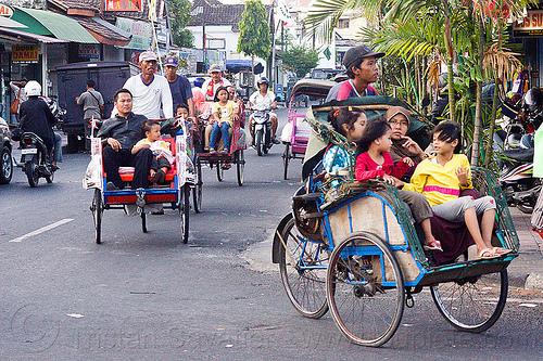 cycle rickshaws (becaks) in jogja, becaks, cycle rickshaws, java, jogja, jogjakarta, street, yogyakarta