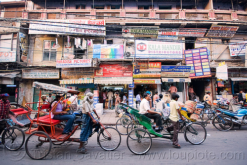 cycle rickshaws - delhi (india), cycle rickshaw, delhi, men, moving, pedicabs, rickshaws, street, tricycles, wallahs