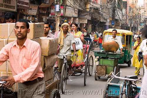 cycle rickshaws in street - delhi (india), auto rickshaw, cycle rickshaw, delhi, men, moving, pedicabs, rickshaws, street, traffic, tricycles, wallahs