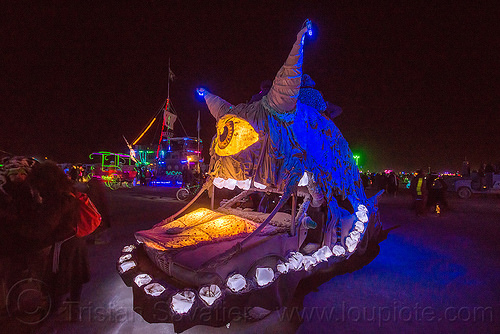 cyclops monster art car - burning man 2015, burning man, cyclops, eye, glowing, monster, mouth, night, teeth, unidentified art car