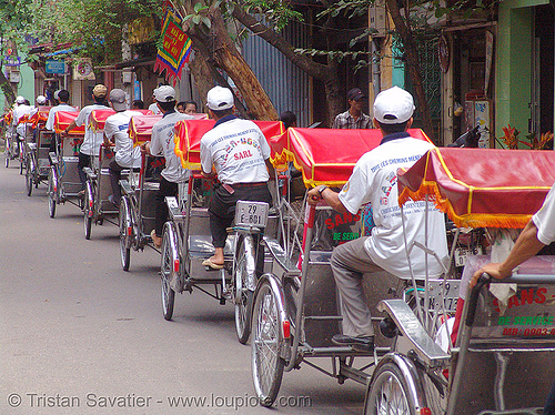 cyclos - cycle rickshaws - vietnam, cycle rickshaw, cyclos, hanoi, taxis, tricycle