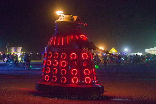dalek - burning man 2013, burning man, dalek art car, glowing, mutant vehicles, night, red