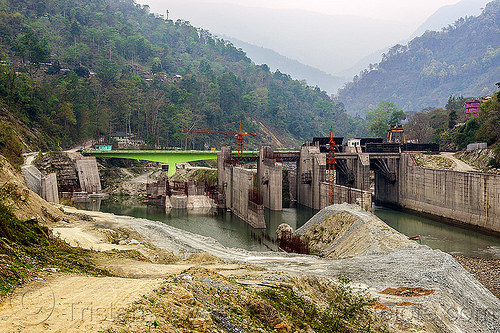 dam construction on teesta river - lanco hydro power project - sikkim (india), bridge, concrete, construction, crane, dam, hydro-electric, india, sikkim, teesta river, tista, valley