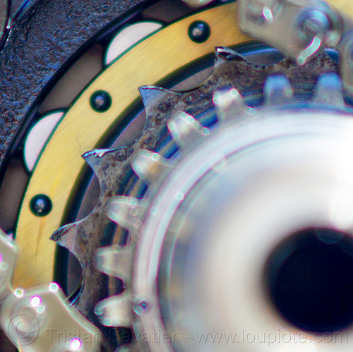 damaged balancer chain sprocket in KLR 650 engine, close-up, crankshaft, damaged sprocket, doohickey, kawasaki, klr 650, macro, mechanic, motorbike, motorcycle engine, sprocket teeth, worn sprocket