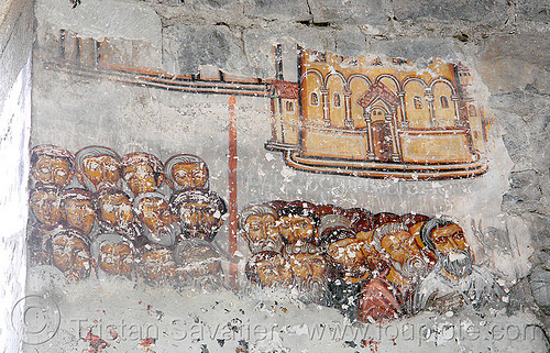 damaged fresco - oshki monastery - georgian church ruin (turkey), byzantine, frescoes, georgian church ruins, orthodox christian, oshki monastery, öşk, öşkvank
