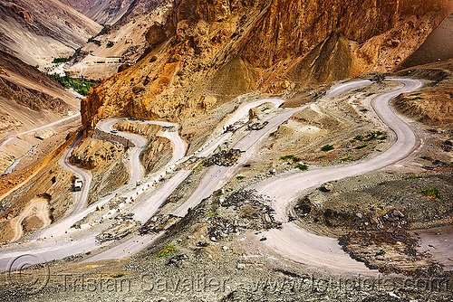 damaged road - bends (switch-backs) below lamayuru - leh to srinagar road - ladakh (india), bends, broken road, curves, damaged, india, ladakh, mountain road, pavement, road damage, switch-backs, turns, winding road