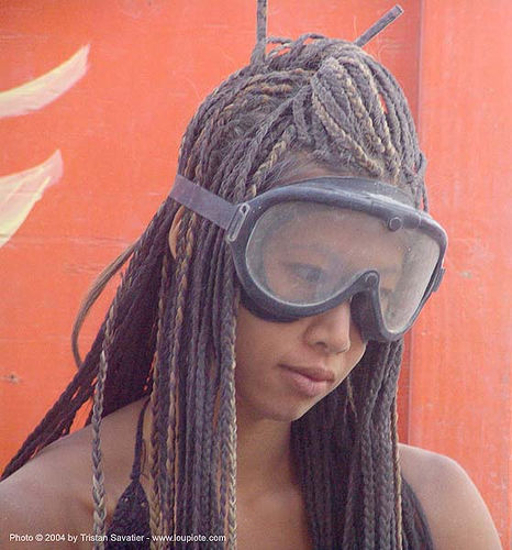 damiana with goggles - burning-man 2004, burning man, center camp, damiana, goggles