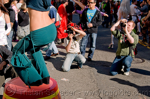 dancer - photographers - paparazzi's (san francisco), carter, circus stool, dancer, green pants, how weird festival, man, paparazzis, photographers, woman