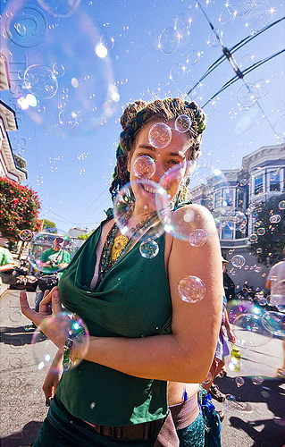 dancing in soap bubbles, carolina, dancing, haight street fair, soap bubbles, woman