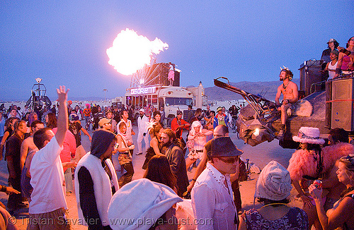 dancing near the temple at dawn - burning man 2007, burning man, fire, flames