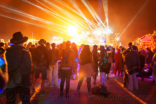 dancing on the night of the burn - burning man 2016, art car, burning man, dancing, mutant vehicles, night of the burn, white lasers