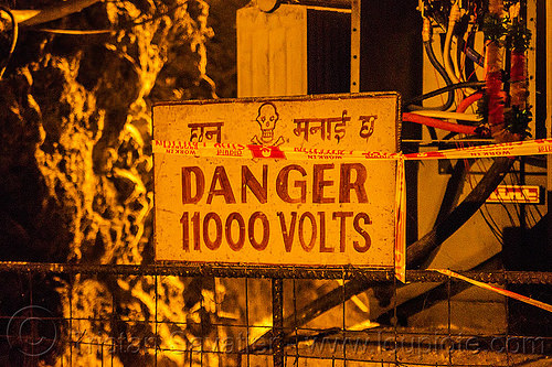 danger 11000 volts - lanco hydro power project - teesta river - sikkim (india), 11000, adit, caution, crossbones, danger, hydro-electric, india, sign, sikkim, teesta, tista, trespassing, tunnel, urbex, volts, warning