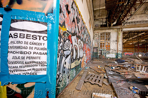 danger asbestos - abandoned warehouse in richmond (near san francisco), abandoned, asbestos, danger, environment, graffiti, hazard, pollution, richmond, trespassing, urban exploration, warehouse, warning sign
