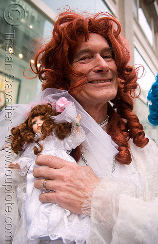 danger ranger aka michele michele and his doll - brides of march (san francisco), bride, brides of march, danger ranger, doll, m2, man, michael michael, michael mikel, michele michele, redhead wig, wedding, white