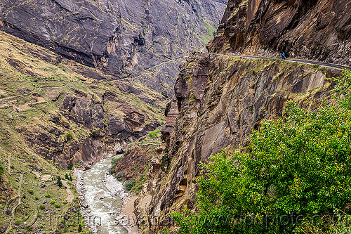 dangerous mountain road on vertical cliff (india), cliff, dhauliganga river, dhauliganga valley, india, motorcycle touring, mountains, road, rock