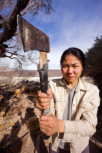dangerous woman holding axe, ax, death valley, saline valley, woman