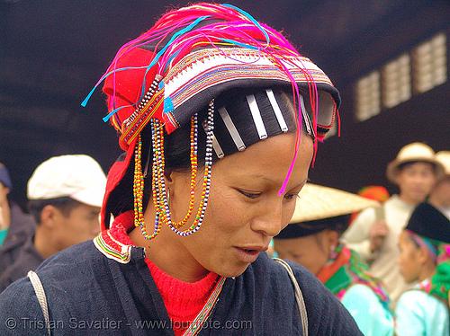 dao tribe woman - vietnam, asian woman, dao tribe, dzao tribe, hat, headwear, hill tribes, indigenous, market, mèo vạc, yao tribe, zao tribe
