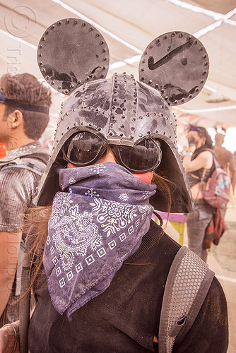 darth vader helmet with mickey mouse ears - burning man 2015, bandana, burning man, center camp, darth vader helmet, dusty, mickey ears