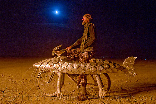 darwin fish bicycle - fish bike - burning man 2009, art car, burning man, darwin fish, doug, fish bicycle, fish bike, full moon, mutant vehicles, night, walking fish