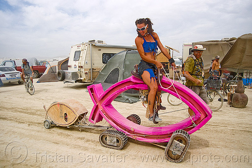 darwin fish, art car, burning man, people, walking fish, woman