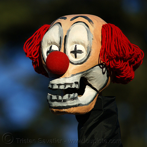dead clown mask (san francisco), dead clown, head, mask, puppet
