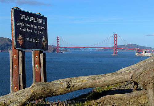 deadman's point - people have fallen to their death from this point (san francisco), deadman point, deadman's point, golden gate bridge, sign, suspension bridge