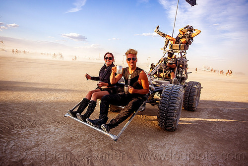 death guild art car - burning man 2015, death guild art car, dgtd, man, sitting, thunderdome, woman
