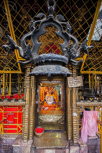 decorated door of the annapurna ajima temple - kathmandu (nepal), annapurna ajima, door, hindu temple, hinduism, kathmandu