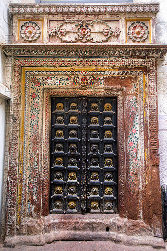 decorated door of old house (india), architecture, building, closed, decoration, gate, hostel, moldings, painted, painting, varanasi