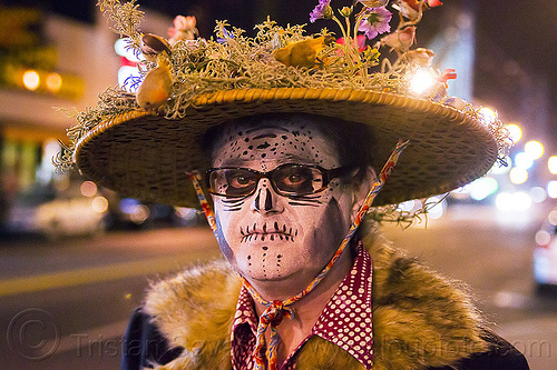 decorated hat and skull makeup - dia de los muertos 2013 (san francisco), day of the dead, dia de los muertos, face painting, facepaint, halloween, hat, man, night, sugar skull makeup
