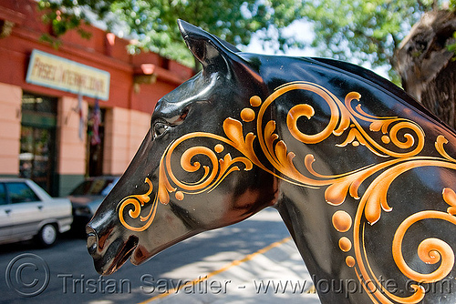 decorated horse sculpture - painted, argentina, buenos aires, decorated, el caminito, horse, la boca, painted, sculpture