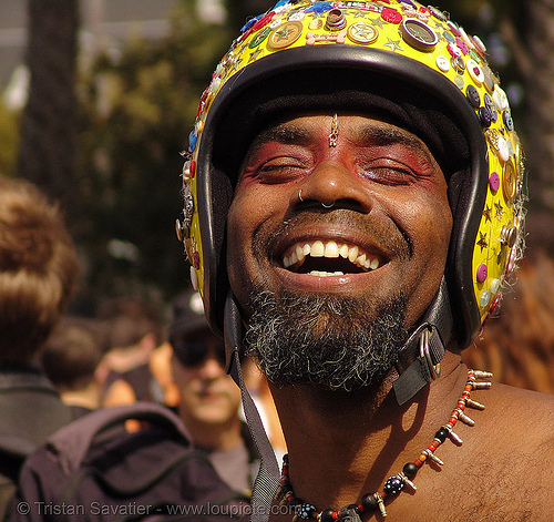decorated motorcycle helmet, african american man, black man, dolores park, easter, easy rider jesus, hunky jesus contest, jombi, people, yellow, yellow helmet