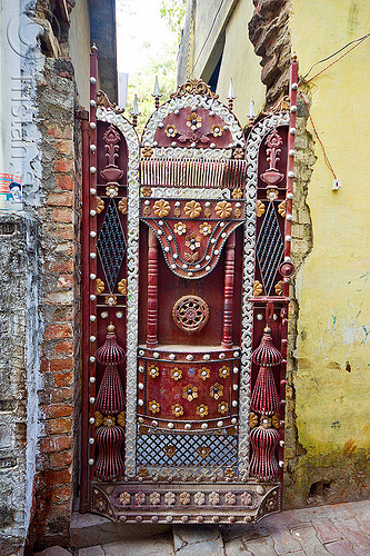 decorated wrought iron gate, closed, decorated, iron door, iron gate, ironwork, lucknow, metal, metalwork, painted, street, wrought
