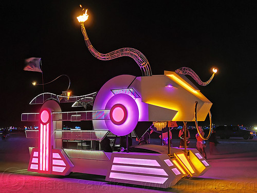 decotoro art car - burning man 2019, burning man, decotoro art car, glowing, mutant vehicles, night