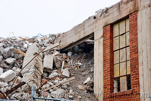 demolition of old factory, abandoned factory, brick, building demolition, concrete, demolished, derelict, industrial, rubbles, tie's warehouse, wall, window