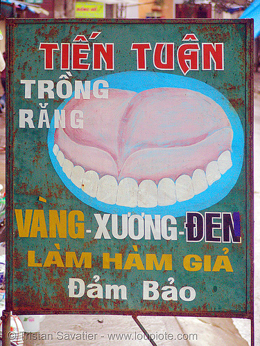 dentist sign - vietnam, dentist, denture, sign, teeth, vietnam